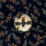 Halloween seamless pattern with cute cartoon bats