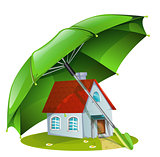 House under a green umbrella