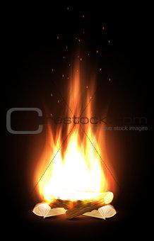 Campfire in dark