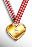 Valentines day gold heart medal
