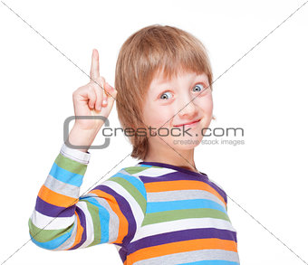 Boy Points up his Finger, Has an Idea