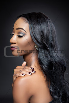 Black beauty with elegant long hair