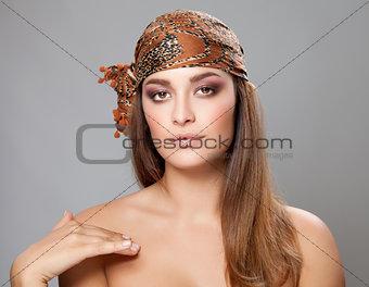 Caucasian beauty wearing a headscarf