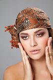 Caucasian beauty wearing a headscarf