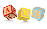 Word ABC written with alphabet blocks