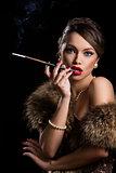 Retro. Beautiful, attractive woman wearing fur