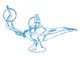 Hand Drawn Aladdin's Lamp - Vector Illustration