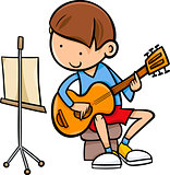 boy with guitar cartoon illustration