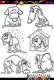 sad dogs group cartoon coloring book