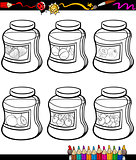 jams in jars set cartoon coloring book