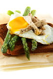 Asparagus, egg and turkey on rye bread.