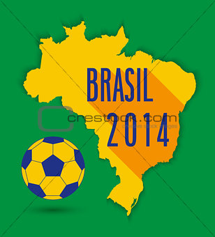 Brazilian map with ball.