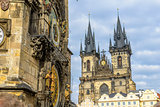 Church Of Our Lady Before Tyn and Astronomical Clock in Prague