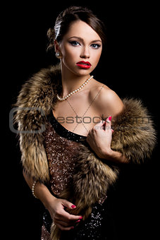 Retro. Gorgeous girl with fur
