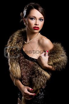 Retro. Gorgeous girl with fur