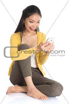 Asian girl texting
