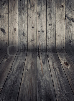 Wooden wall and flooring.