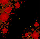 Red flowers on a black background
