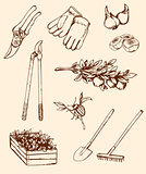 Hand drawn garden tools