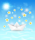 Background with paper boat and flowers