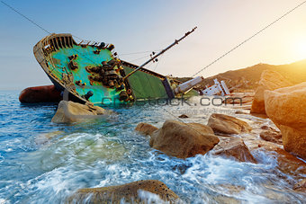 shipwreck and seascape sunset