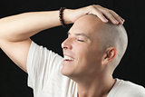 Man Feels Newly Shaved Head