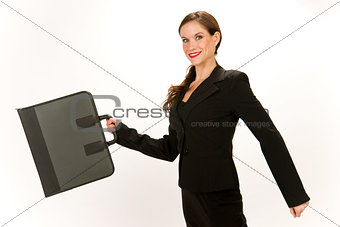 Attractive Woman in Business Suit Holding Briefcase Portfolio