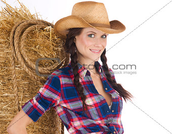 Country Time Woman Smiling Wearing Western Clothing