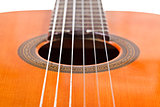 six nylon strings of classical acoustic guitar