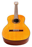wooden body of spanish acoustic guitar