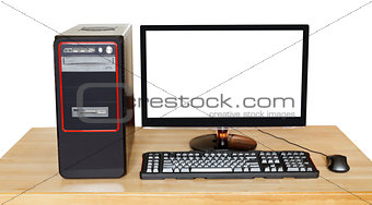 black computer with widescreen display on table