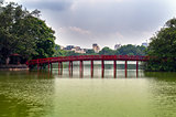 Red Bridge and Yellow Water on Hoan Kiem Lake.