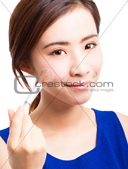 close up of young Woman Face and Makeup concept