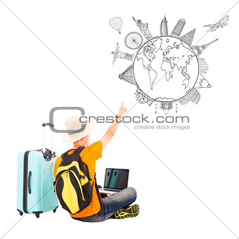 young man is happy to point his global travel plan