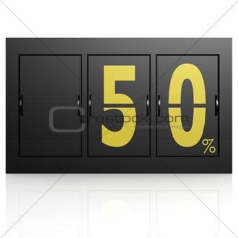 Airport display board 50 percent