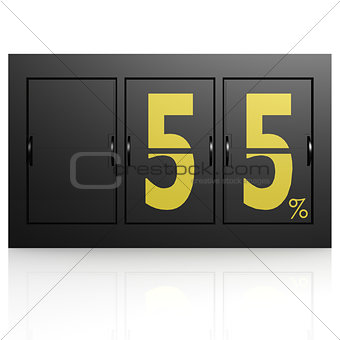 Airport display board 55 percent