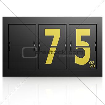 Airport display board 75 percent