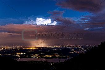 Thunderstorm over plain of Varese