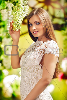 Beautiful Woman In Garden