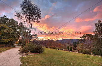 Autumn sunset Blue Mountains NSW Australia