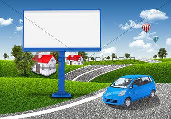 Small car and empty billboard