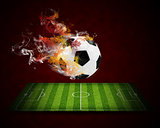 Soccer ball in the color of flame and smoke