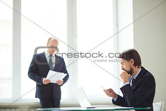 Businessmen in office