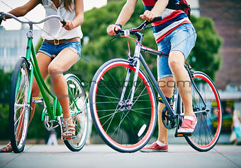 Legs of bicyclists