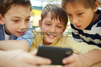 Boys with smartphone