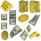Dollar notes, gold coins and safes