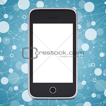 Smart phone on a background lattice social network