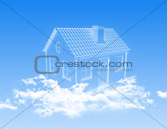 House of clouds in the sky