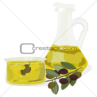 carafe of olive oil and a bowl