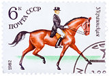 Stamp printed in USSR shows a Ukrainian sports horse for Dressag